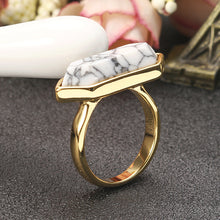 Load image into Gallery viewer, JASSY® Fashion White Hexagon Turquoise Ring 18K Gold Plated Vintage Clothing Accessories
