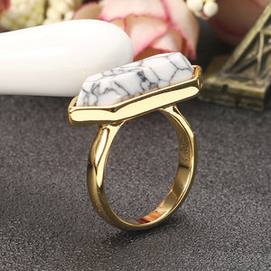 JASSY® Fashion White Hexagon Turquoise Ring 18K Gold Plated Vintage Clothing Accessories