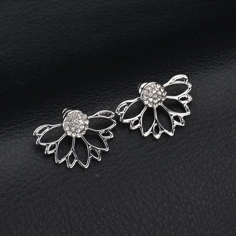 Trendy Rhinestone Earrings Hollow Lotus Double Side Ear Stud
