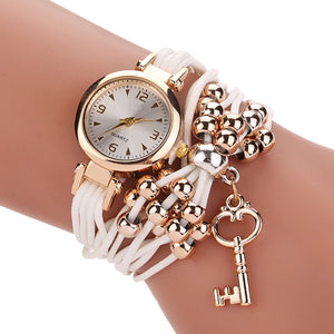 Gold Case Leather Beading Strap Women Bracelet Quartz Watch