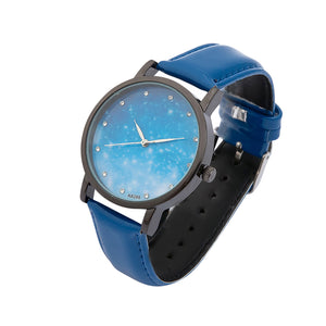 MILIER 8288 Starry Night Sky Fashion Leather Strap Simple Women Wrist Watch