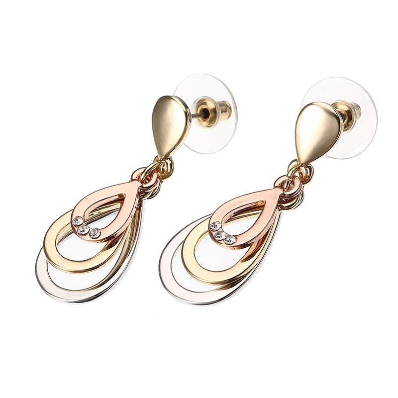 JASSY® Fine Jewelry Rose Gold Platinum Plated Multilayer Drop Ear Stud Elegant Earrings for Women