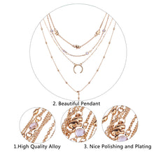 Load image into Gallery viewer, Bohemian Multilayer Moon Rhinestone Pendant Necklaces