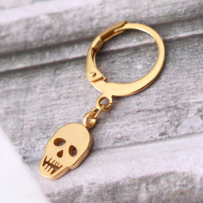 1 Piece Titanium Steel Earring Punk Skull Pendant 316L Stainless Steel Hoop Earrings for Men Women