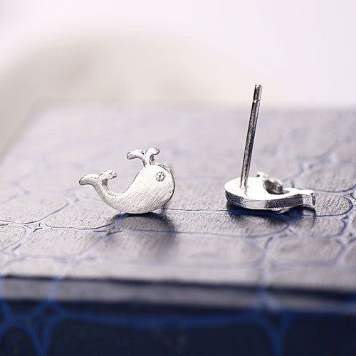 Silver Sweet Little Whale Ear Stud Earrings For Women