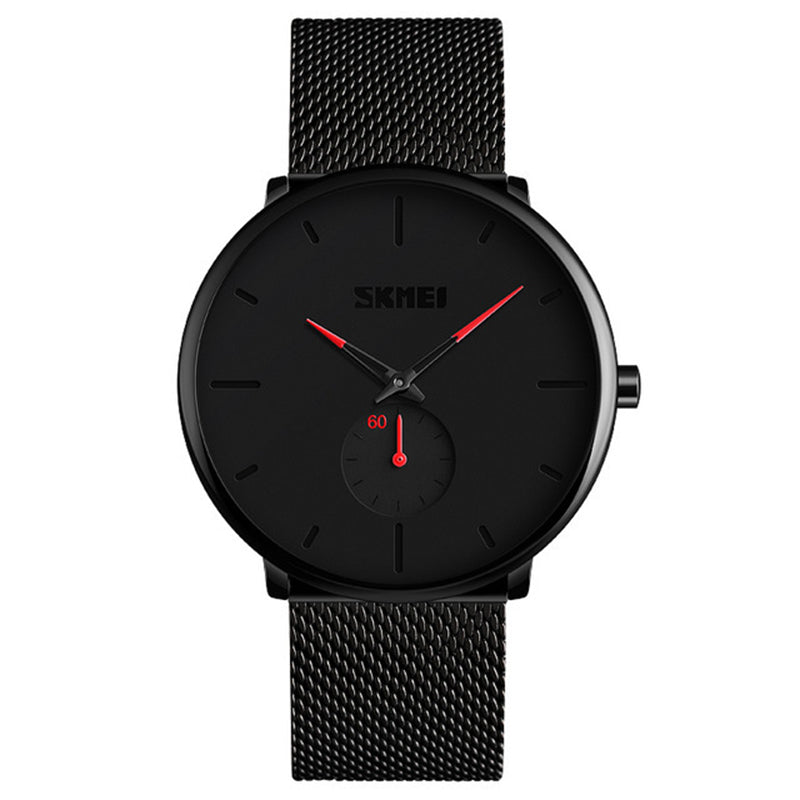 SKMEI 9185 Simple Casual Style Mesh Steel Men Quartz Watch