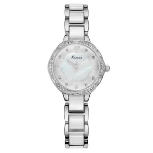 KIMIO KW6016M Fashion Women Quartz Watch Luxury Rhinestones Ceramic Watch