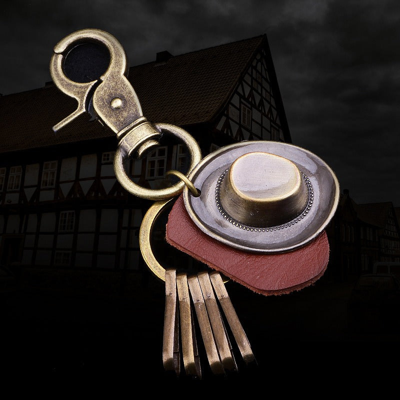 Retro Punk Hat Car Keychain