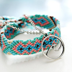 Cheap Bohemian Braided Rope Hollow Geometric Handmade Anklet (Blue)