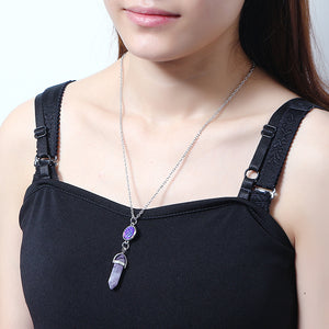 Women's Long Chain Turquoise Natural Stone Colorful Scale Pandent Silver Necklace