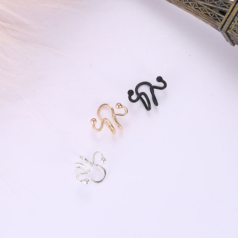 Fashion Ear Clip Earrings Snake Bone Animal Matchstick Ear