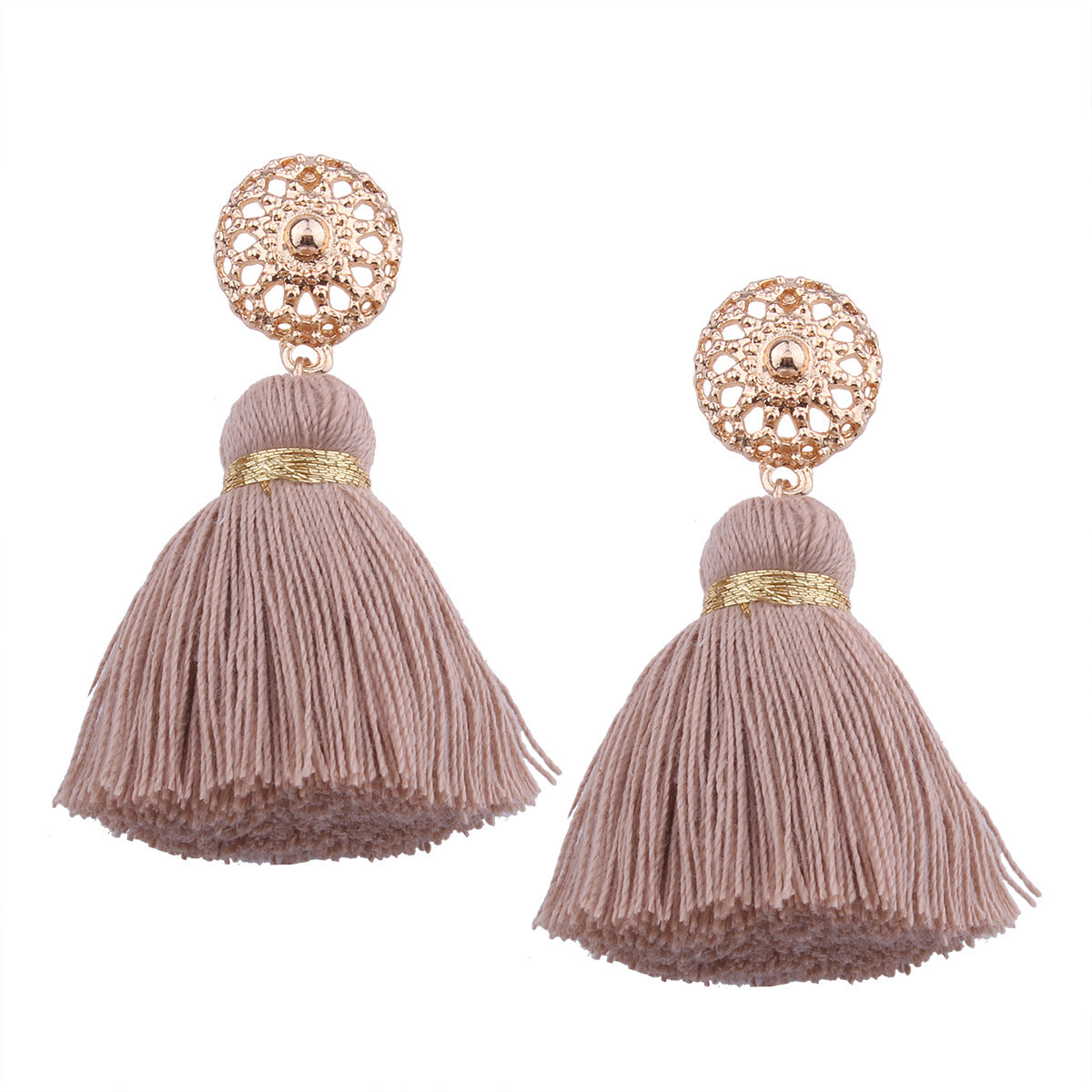 Bohemian Hollow Sun Stud Weaving Tassels Earrings Ear Drop