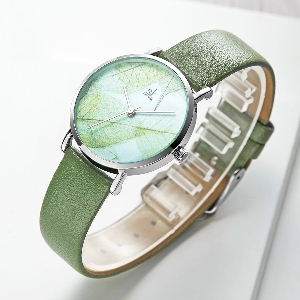 SHENGKE SK K0108 Spring Jade Dial Women Quartz Watch