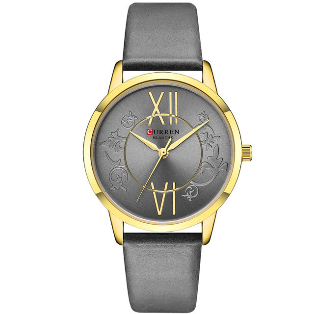 CURREN 9049 Analog Casual Style Leather Strap Women Watch