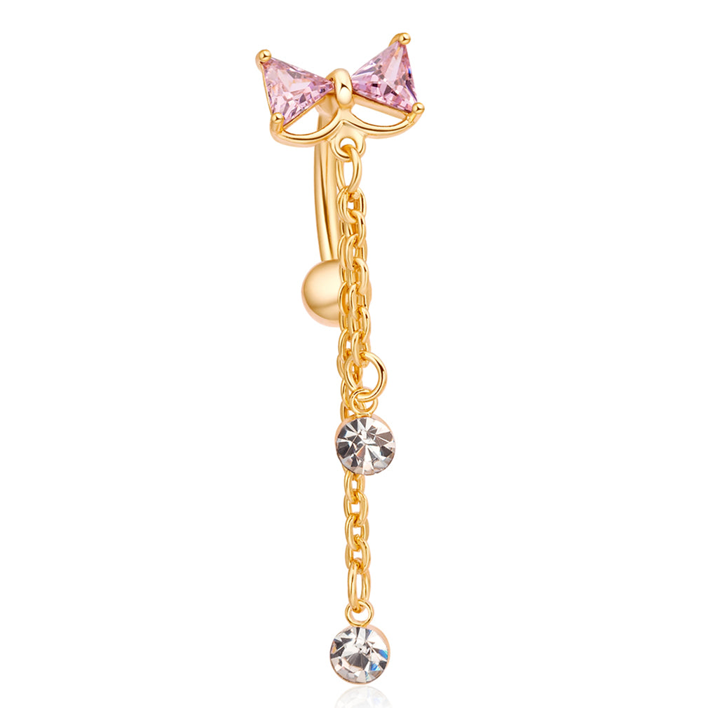 Elegant Bowknot Belly Ring Tassel Rhinestone Navel Belly