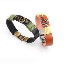 Load image into Gallery viewer, Unisex Vintage Musical Note Leather Bracelets