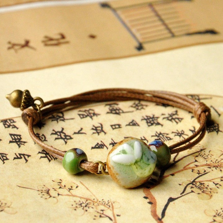 Chinese Ceramics Flower Weave Wax Rope Bracelet Jewelry