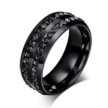 Load image into Gallery viewer, 8mm Titanium Steel Men Ring Black Double Rhinestone Men Jewelry