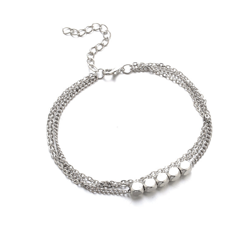 Trendy Sterling Silver Plated  Beads Anklet (As Picture)