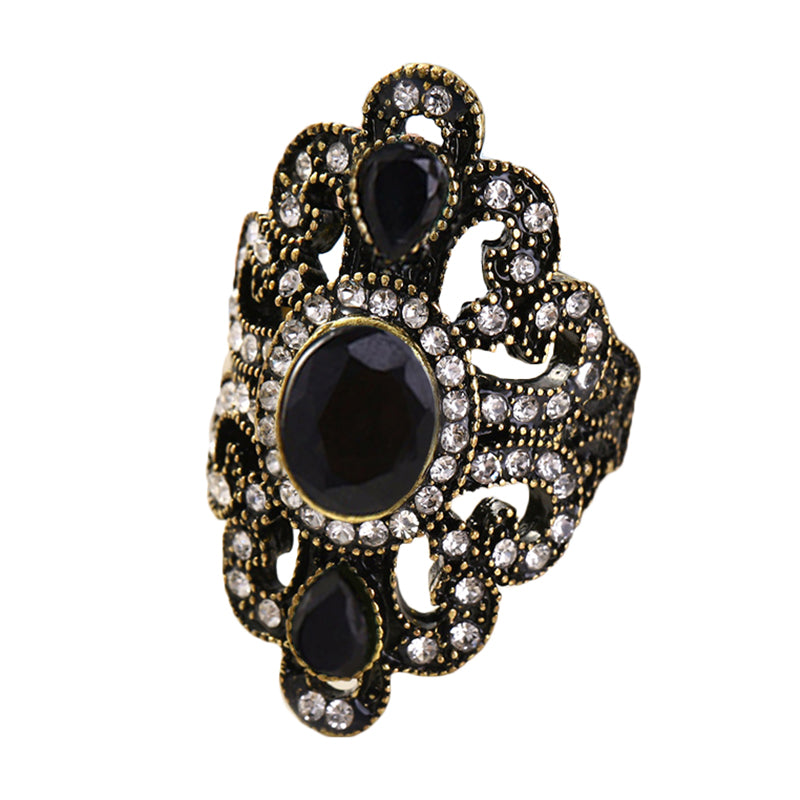 Vintage Finger Ring Gemstone Rhinestone Hollow Oval Jewelry