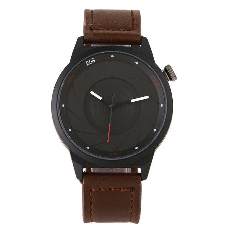 Creative Men Leather Aperture Pattern Dial Quartz Watch