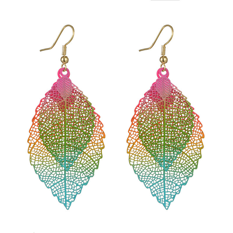 Ethnic Statement Colorful Double Layer Leaf Drop Earring (As Picture)