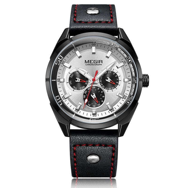 MEGIR ML2072G Luminous Calendar Men Leather Quartz Watch