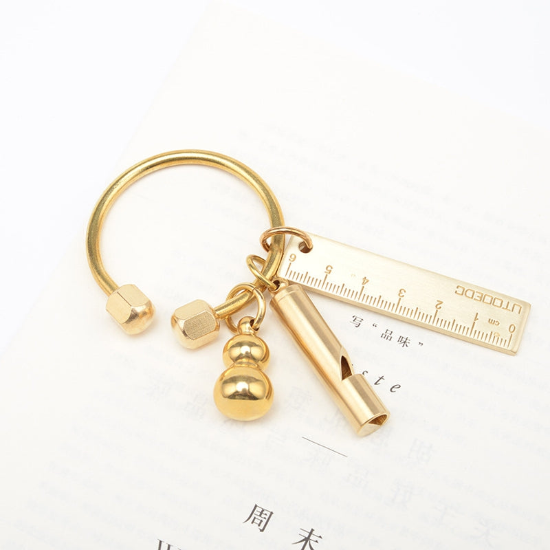Vintage Handmade Brass Keychain Round Anti-lost Key Ring