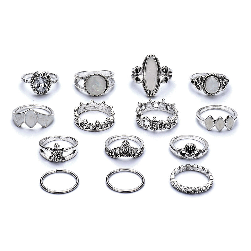 14 Pcs Retro Turtle Heart Finger Ring Set