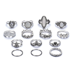 14 Pcs Retro Turtle Heart Finger Ring Set (01)