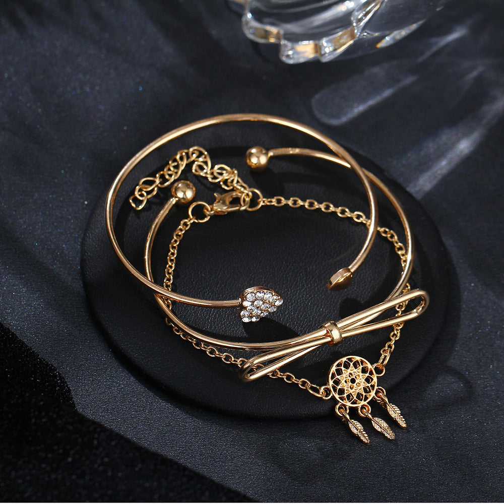 Elegant Cuff Bracelets Chain Dream Net Bowknot Crystal Heart