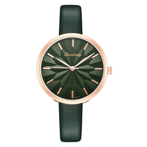Colorful Leather Strap Simple Dial Women Quartz Watch