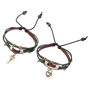 Sweet 1 Pair Lock and Key Pendant Lover's Couple Bracelet