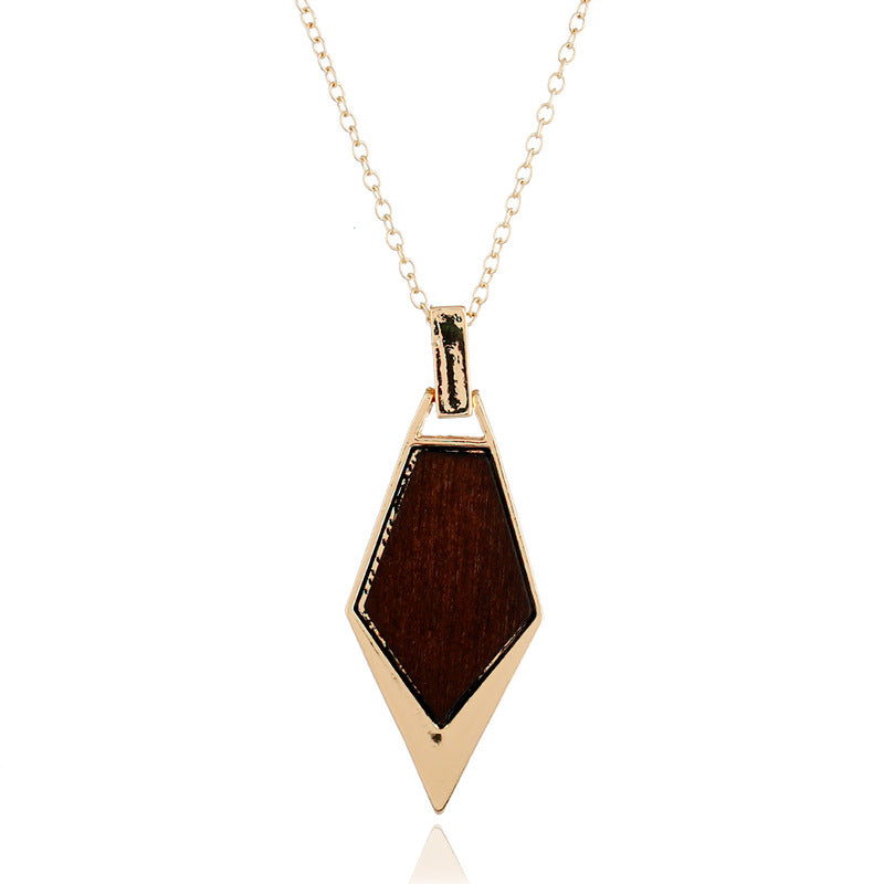 Simple Wood Gold Chain Statement Necklace for Women (As Picture)