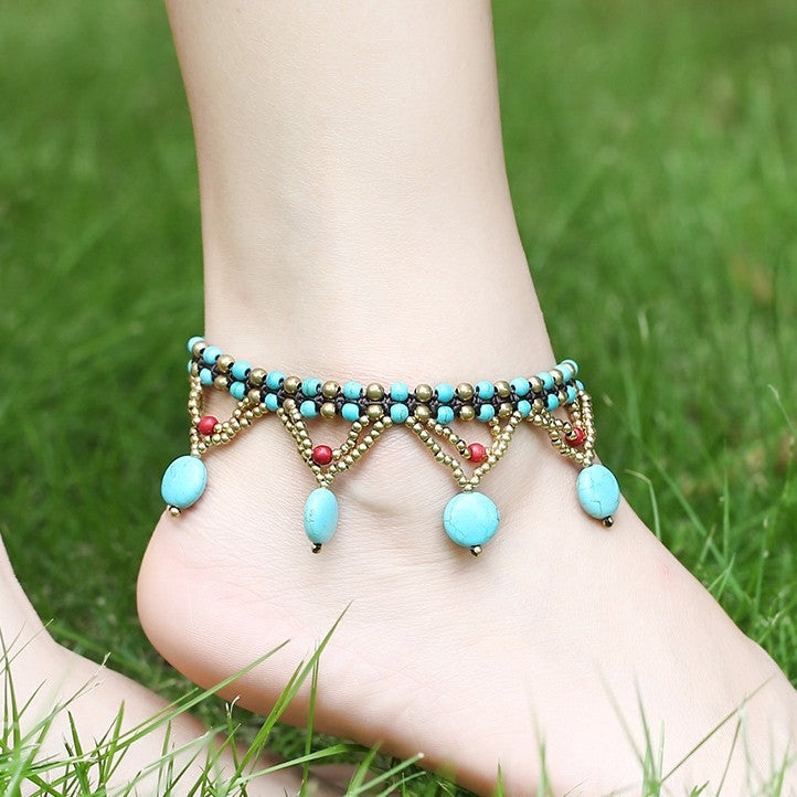 Vintage Turquoise Beads Braided Rope Copper Bell Anklet