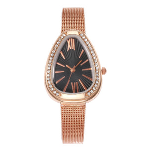 Crystal Case Triangle Dial Mesh Belt Women Quartz Watch