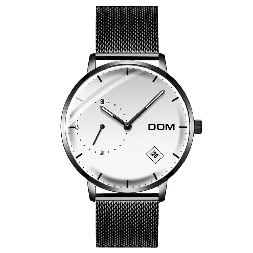 DOM M-302 Waterproof Calendar Stainless Steel Men Watch
