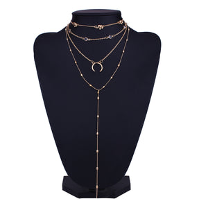 Bohemian Multilayer Moon Rhinestone Pendant Necklaces