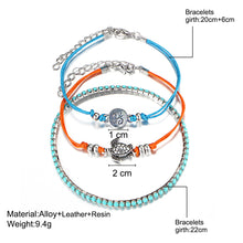 Load image into Gallery viewer, 3 Pcs/set Turtle Rune Charm Multilayer Anklets Bracelets