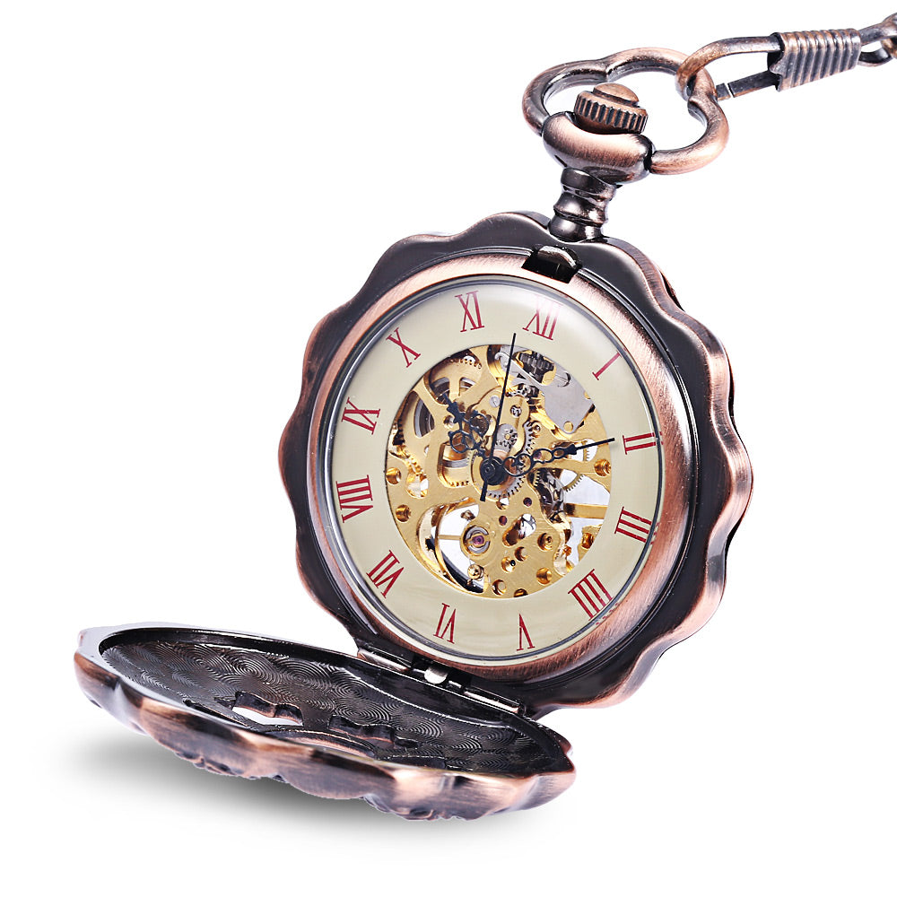JIJIA JX013 Six Petals  Alloy Chic Mechanical Pocket Watch