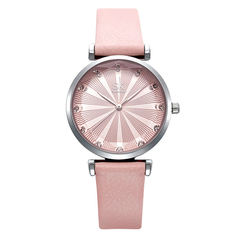 SHENGKE SK K0099 Crystal Radiation Dial Women Quartz Watch