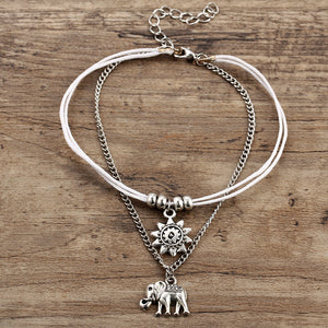 Vintage Multilayer Elephant Sun Charm Anklet Bohemian (As Picture)