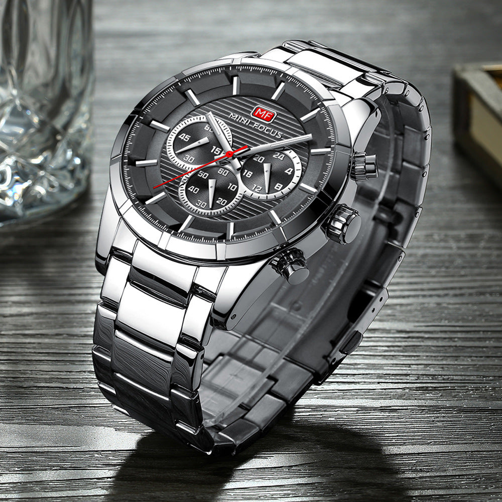 MINI FOCUS MF0170G Business Style Full Steel Men Watch