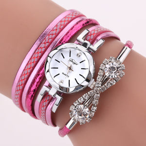 DUOYA D258 Retro Style Bow Crystal Women Bracelet Watch