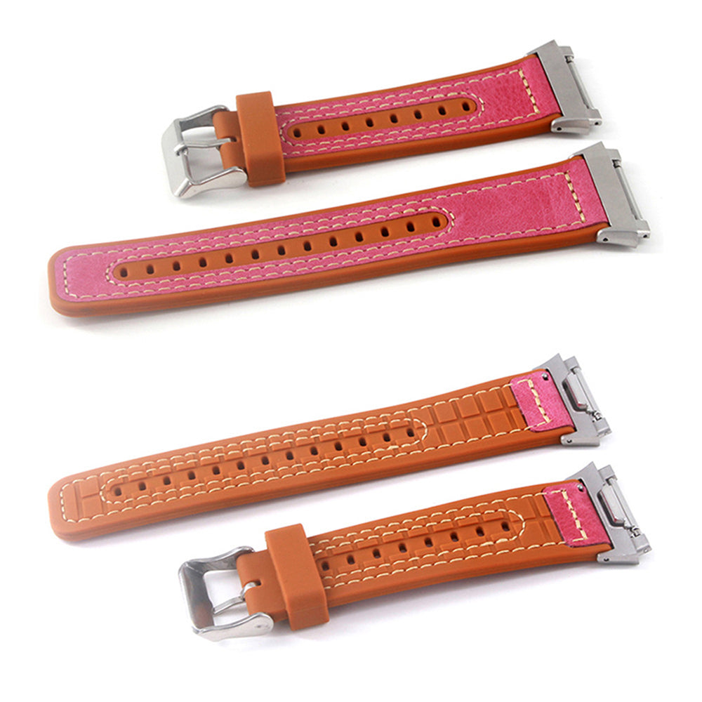 22mm Leather+Silicone Watchband Replacement for Fitbit Blaze