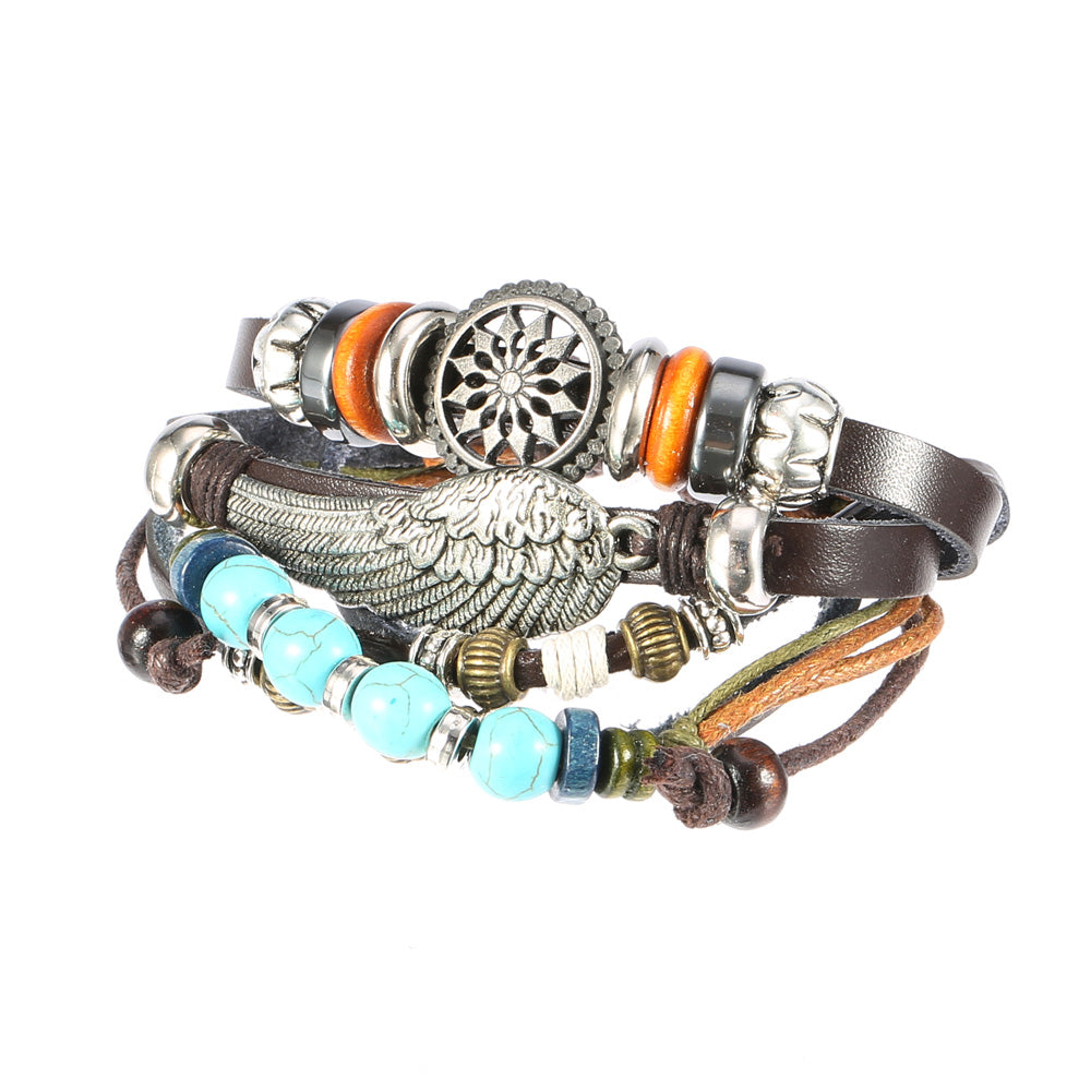 Adjustable Black Braided Leather Bracelet Multilayer Weave