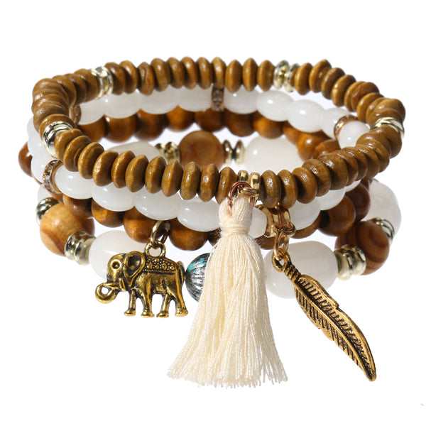 Retro Leaf Elephant Elastic Multilayer Bead Bracelet