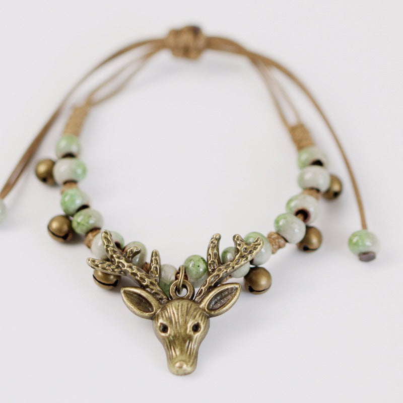 Vintage Deer Small Bell Wax Rope Beaded Charm Bracelet