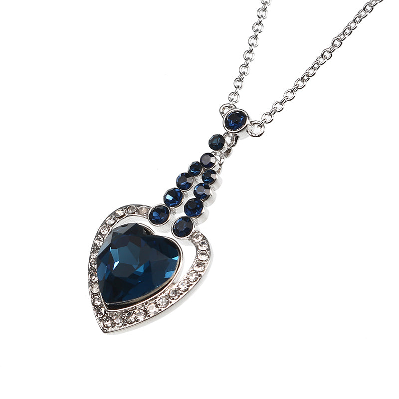 JASSY® Heart of Ocean Sapphire Crystal Necklace Platinum Plated Rhinestone Best Gift