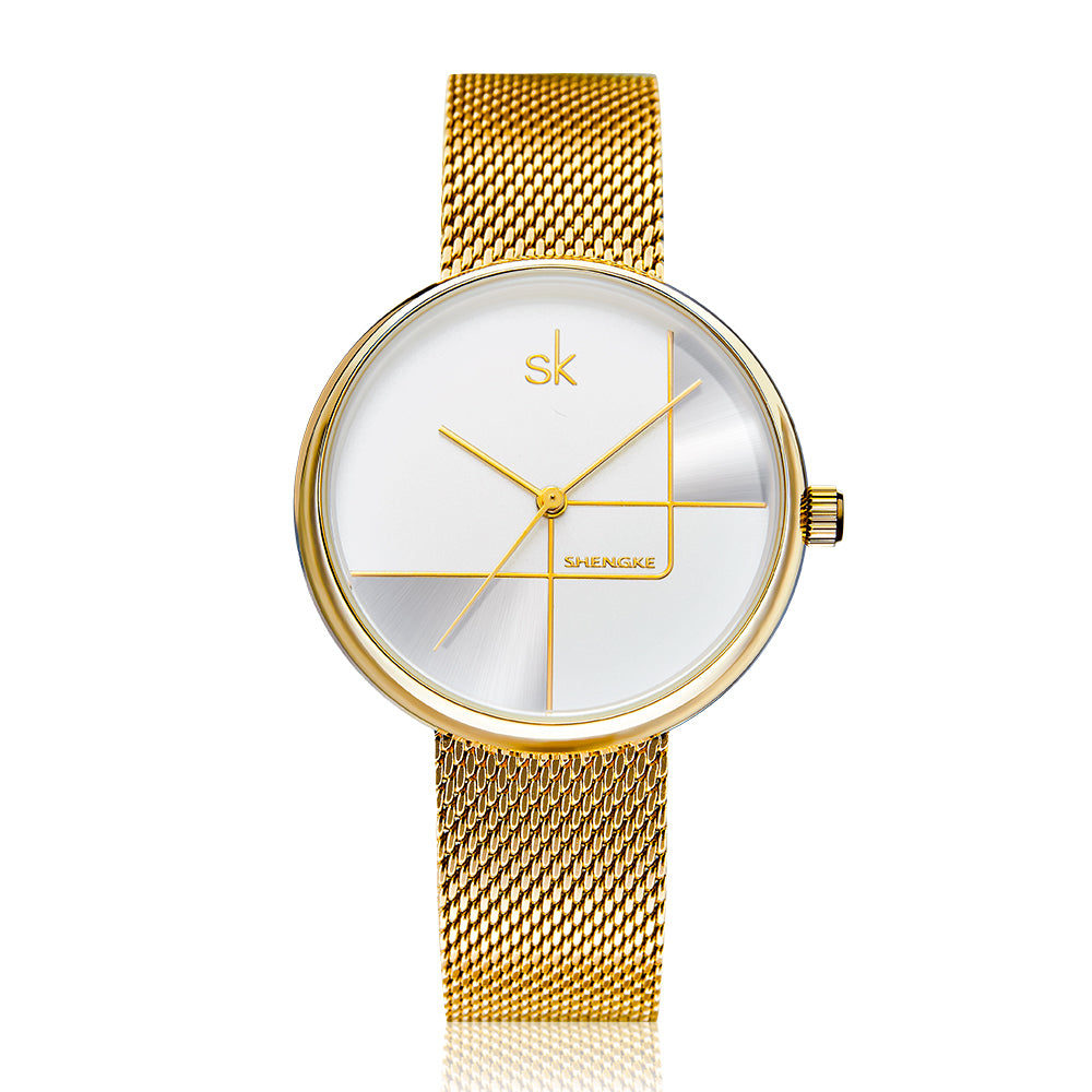 SHENGKE SK  K0105L Geometric Line Women Quartz Watch